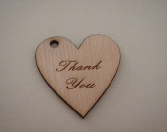 Wood Heart Shaped thank you gift tags