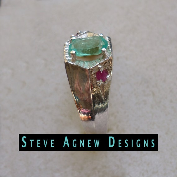 columbian emerald and ruby ring by steveagnewdesigns on etsy