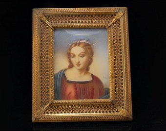 Antique Victorian Hand Painted Madonna Signed Portrait Brass Frame