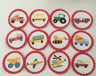 12 Vehicle cupcake toppers