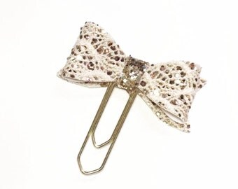 Lace bow planner clip, glitter bow clip, glitter planner clip, planner clip, erin condren, websters pages, planner accessories