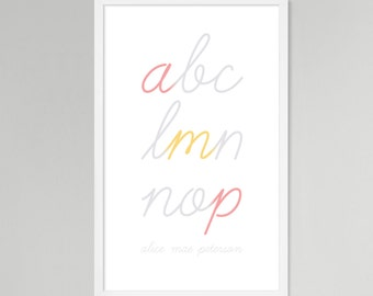 Initial Script Personalized Baby/Kids Art (Pink, Large)