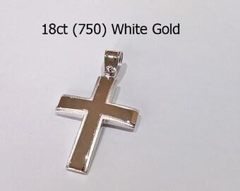 18ct 750 White Gold Crucifix Cross Pendant - EJD47