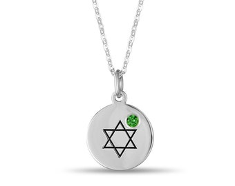 Star of David Disc Pendant With Personalized Birthstone In Sterling Silver, Jewish Star Necklace, Judaica Jewelry, Star of David Necklace