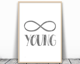 Forever young, Forever young sign, Gallery Wall, Gallery Wall Art, Forever Wall Print, Forever Print, Minimalist, black and white Watercolor