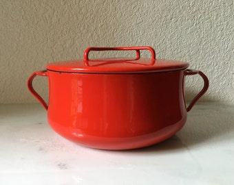 Dansk Kobenstyle cast iron red enamel dutch oven with lid