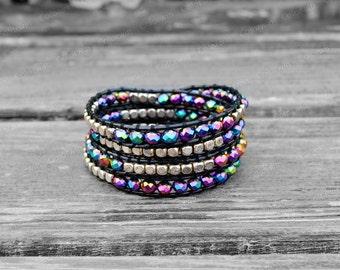 Malachite Leather Bracelet Wrap Bracelet Crystal Bracelet Leather Wrap Bracelet 4mm Beaded Bracelet Wedding Jewelry