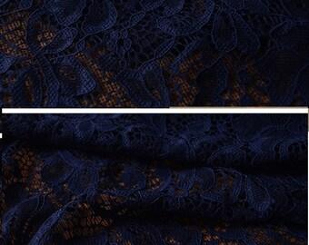 Navy Blue lace, bridal lace, Navy blue stretch lace, Navy blue cotton lace