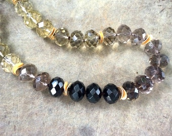 Knotted Gold Vermeil Chunky Smoky Quartz Faceted Gradient 18MM Rondelle Beaded Necklace