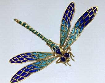 "18K Gold Plique A Jour Enamel Dragonfly Brooch - Vintage 1990s Made in Spain Blue & Azure Enamel 3"" Wingspan"
