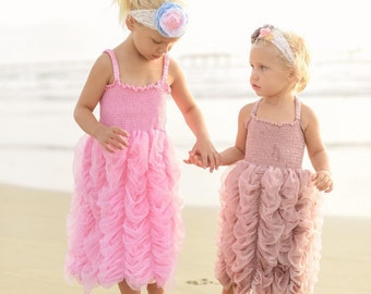 Pink or Dusty Rose Formal Dress. Ruched dress for Toddler or Girls. Other colors also available.