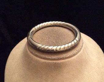 Vintage Chunky Silvertone Rippled Bangle Bracelet