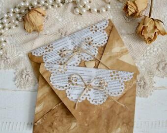 10 Vintage style coffee stained envelopes wedding invitation envelopes gift envelopes junk journal envelopes.