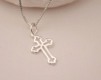sterling silver cross necklace sterling cross charm necklace delicate necklace everyday necklace bridesmaid gift