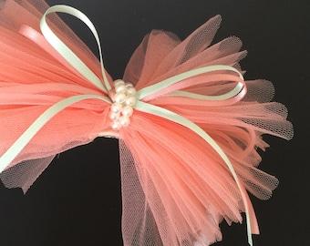 SALE!!!,Flower Girl Hair bow,Lace Bow,Chiffon Hair Bow,Chiffon headband,Flower girl gift,Ruffle hair bow,Tulle Hair Bow,peach color Hair Bow