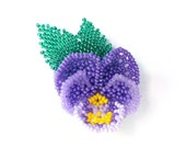 Beadwoven Pansy Pin Pansy Brooch Seed Bead Pansy Flower Brooch Hand Beaded Pansy Floral Brooch Handmade Pansy Jewelry Romantic Gifts For Mom