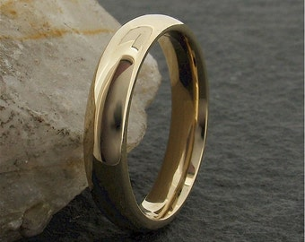 Yellow Gold Wedding Ring, 4mm wide  18ct gold court with polished finish for a man or woman.