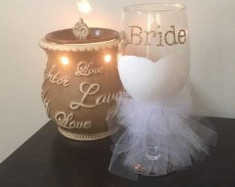 Bride glass, bride wineglass, engagement glass, wedding toast glass, wedding glass, party glass