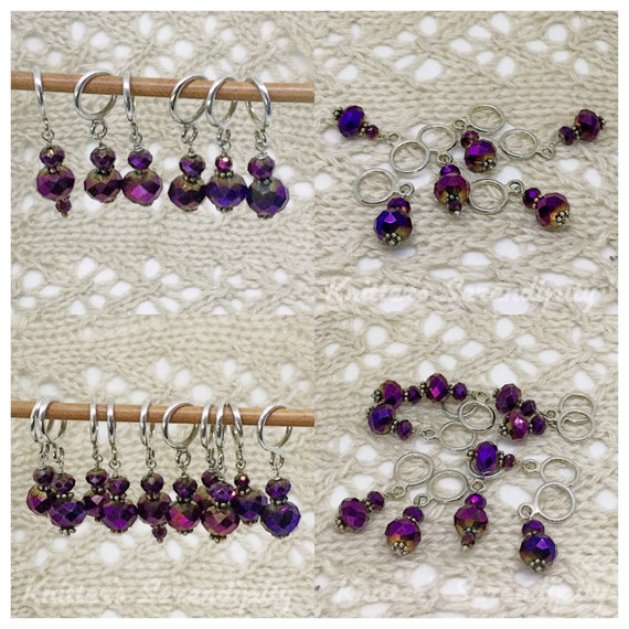 Lace Knitting Stitch Markers : Stitch Markers for Knitting, Plum Wine Stitch Markers, Glass Bead Stitch Mark...