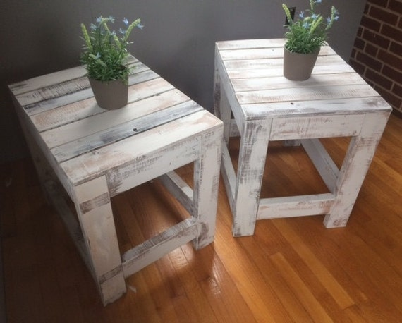 Rustic White Washed Reclaimed Wood End Tables By