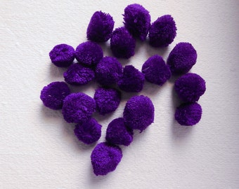 Purple Pom Poms, 12mm Pom Pom Balls, Yarn Pom Poms, Party Pom Poms