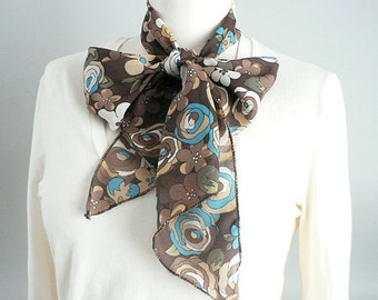 Womens Narrow Floral Bow Tie Scarf