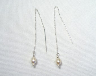Lyn's Jewelry Freshwater Pearl Threader Earrings Sterling Silver