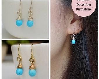 Simple Turquoise Earrings, Hook Earrings, Briolette Earrings, Gold Earrings, Silver Earrings, Blue Gem Earrings, Blue gemstone Earrings