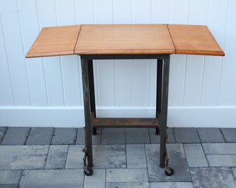 vintage typewriter table metal rolling base solid wood top refinished bar cart utility unit fold down