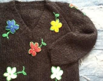 Vintage 1960's Black Pullover Floral Sweater