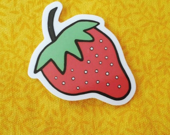 Strawberry Sticker - Cute Fruit Stickers, Vegan/Kid's Stickers, For Laptops and Notebooks