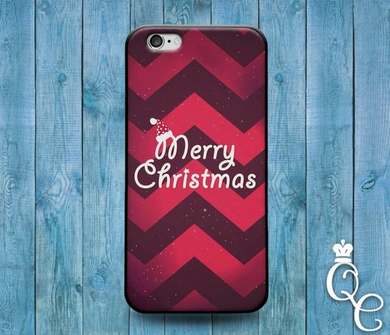 iPhone 4 4s 5 5s 5c SE 6 6s 7 plus iPod Touch 4th 5th 6th Generation Cute Custom Red Chevron Merry Christmas Gift Present Happy Holiday Case