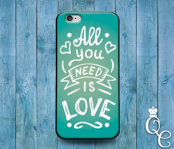 iPhone 4 4s 5 5s 5c SE 6 6s 7 plus iPod Touch 4th 5th 6th Gen Cute Green White Quote Case All You Need is Love Phone Cover Cool Music Fun
