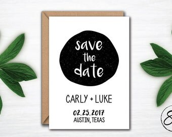 Modern PRINTED Save the Date // 5x7 // Wedding Save the Date // Fun Save the Date