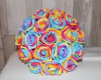 Round Artificial Rainbow Rose Bridal Bouquet Posy Set
