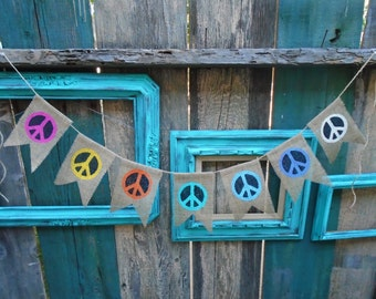 Peace Sign Symbol Burlap Bannner Garland