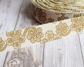 Wedding ribbon - Gold lace look - Fancy printed ribbon - Wedding grosgrain ribbon - Vintage look - Popular wedding ribbon - 3 or 5 yards
