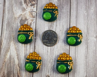 Lucky charm cabochon - Pot of gold flatback - Cabochon for bow making - DIY hair bows - Crafting supplies - St Patty's day supply - Set of 5