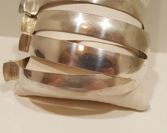 Four Solid Sterling Silver Modernist Harvey Avedon Bangle Bracelets