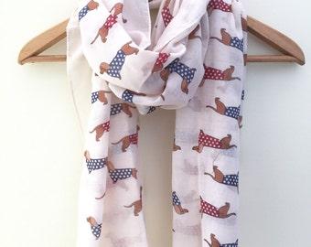 Polka Dot Sausage Dog Dachshund Print Scarf With Frayed Edge