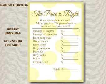 The Price is right Baby Shower Game Printable, Gender Neutral Baby Shower Games, Baby Shower Price is Right, Digital file, Baby Shower Game