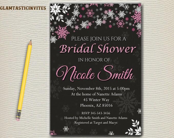 Winter Bridal Shower Invitation, Chalkboard winter Invitation, Digital file, Shower Invitation, shower invite, WINTER invitation, Printable