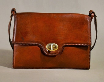 Cognac Leather Vintage Bag, Office Bag, Shoulderbag, Messenger Bag