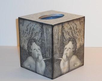 Tissue Box Cover, Decoupage Wooden Tissue Box  Holder,