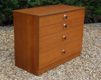 Vintage Retro Four Drawer Chest of Drawers By Avalon - Original Teak Handles