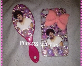 SALE pink purple white one direction 1D Harry Styles iphone 4 4s and small hair brush gift set