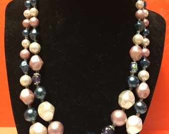 Vintage Double Strand Beaded Necklace