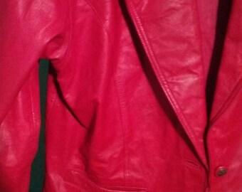 Evan Davies red leather jacket
