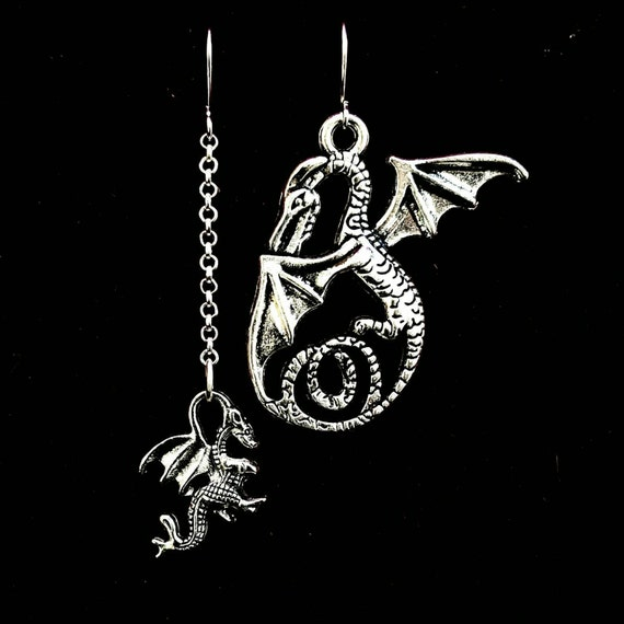 mismatched DRAGON earrings, clash of the titans, godzilla, mythological jewelry, pagan, wiccan, fairies, goth, gothic, larp, khalessi, drogo