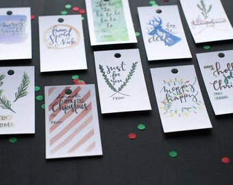Gift Tags - Watercolor Christmas Tags - Set of 10